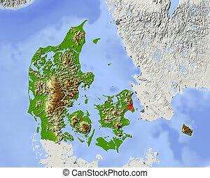 Denmark, shaded relief map - Denmark. Shaded relief map....