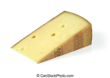 Wedge of cheese - A big wedge of Swiss cheese. Isolated...