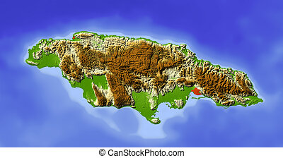 Jamaica, shaded relief map - Jamaica Shaded relief map...