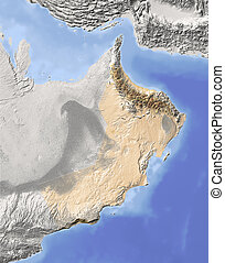 Oman, shaded relief map