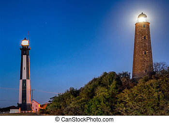 Cape Henry Lighthouses - Image of the new and the old Cape...