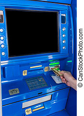 ATM Machine - Hand inserting a credit card in an ATM