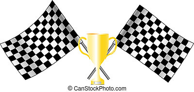 Checkered flag and cup
