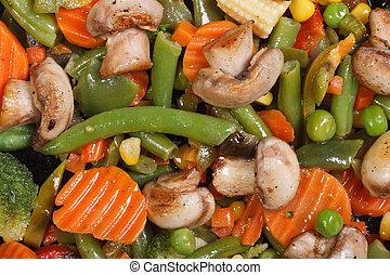 stewed mushrooms with vegetables macro background - stewed...