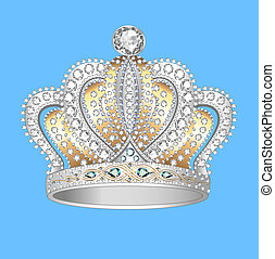 crown of gold silver and precious stones - decorative crown...