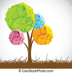 Abstract tree with crumpled paper