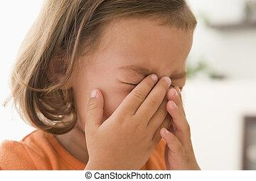 flicka, Inomhus, ung, grät