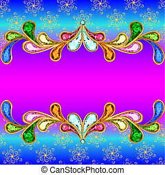 illustration background with a horizontal band of jewels and...