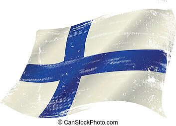 Finnish grunge flag - flag of Finland in the wind with a...