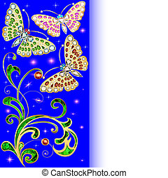 illustration background with butterflies and ornaments made...