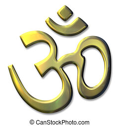 sacred syllable Aum - an illustration of the golden sacred...