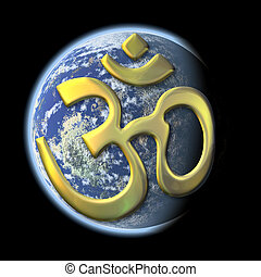 sacred syllable Aum on Earth - an image of a the earth with...