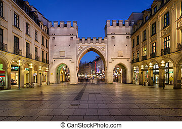 Karlstor Gate and Karlsplatz Square in the Evening, Munich,...