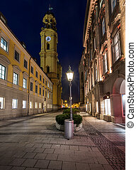 Theatinerkirche and Odeonplatz in the Evening, Munich,...