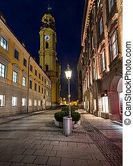 Theatinerkirche and Odeonplatz in the Evening, Munich,...