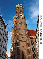 Church of Our Lady (Frauenkirche) in Munich at Night, Bavaria, Germany