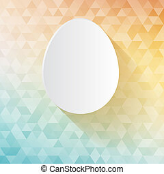 Easter card - white paper cut egg on triangles tessellation...