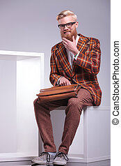 fashion young man with long beard is laughing - fashion...