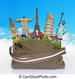 Travel the world monuments bag concept - Famous monument of...