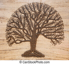 tree of life - A tree of life sewn onto canvas on display in...