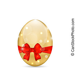 Easter paschal shine egg with red bow - Illustration Easter...