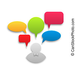 Icon of businessman with set colorful speech bubbles