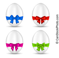 Easter set celebration eggs with colorful bows