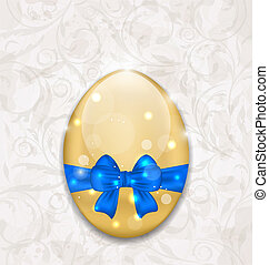 Easter glossy egg wrapping blue bow