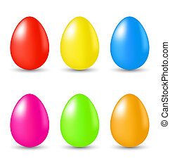 Easter set paschal eggs isolated on white background -...