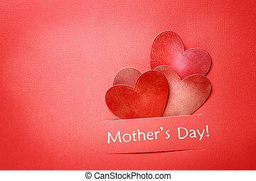 Mothers day message with paper hearts - Mothers day message...