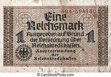 1 Reichsmark 1938-1945 banknote front side macro against...