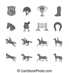 Horse with riders flat icons set of cup barrier saddle and...