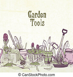 Hand drawn gardening tools frame - Hand drawn gardening...