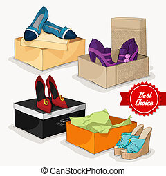 Fashion collection of women shoes