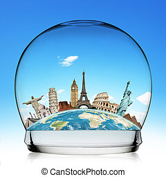 Travel the world monument snowball concept - Famous...