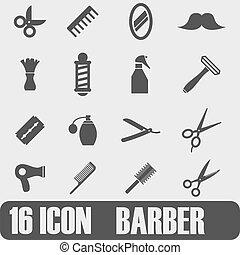 vetorial, pretas, barbeiro, ícone, jogo