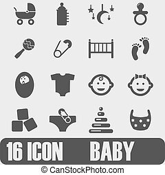 Vector black baby icons set on white background