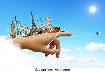 mundo, viaje, concepto, monumentos