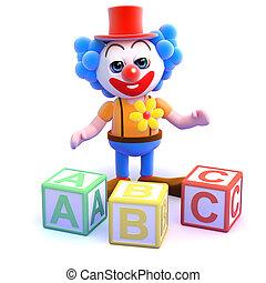 3d Clown literacy - 3d render of a clown with alphabet...