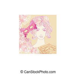 venetian carnival - beautiful woman, mask and gondola