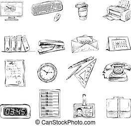 Business office stationery supplies icons set of computer...