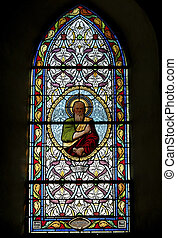 stain glass window - Stain glass window in little church in...