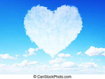 Love clouds concept - Fluffy love clouds on blue sky...