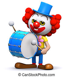 3d Clown drummer - 3d render of a clown banging a big bass...