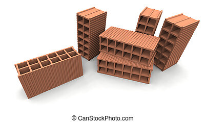bricks - a 3d render of some bricks on a white background