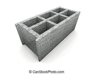cinder-block - a 3d render of some cinder-block on a white...