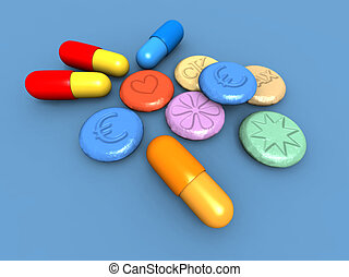 ecstasy pills - a 3D render of some colored ecstasy pills