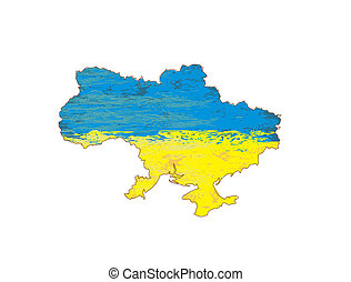 Ukraine Grunge map with the flag inside.