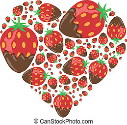 strawberries in chocolate in heart