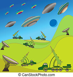 Flying plates of aliens are attacking the Earth Military...